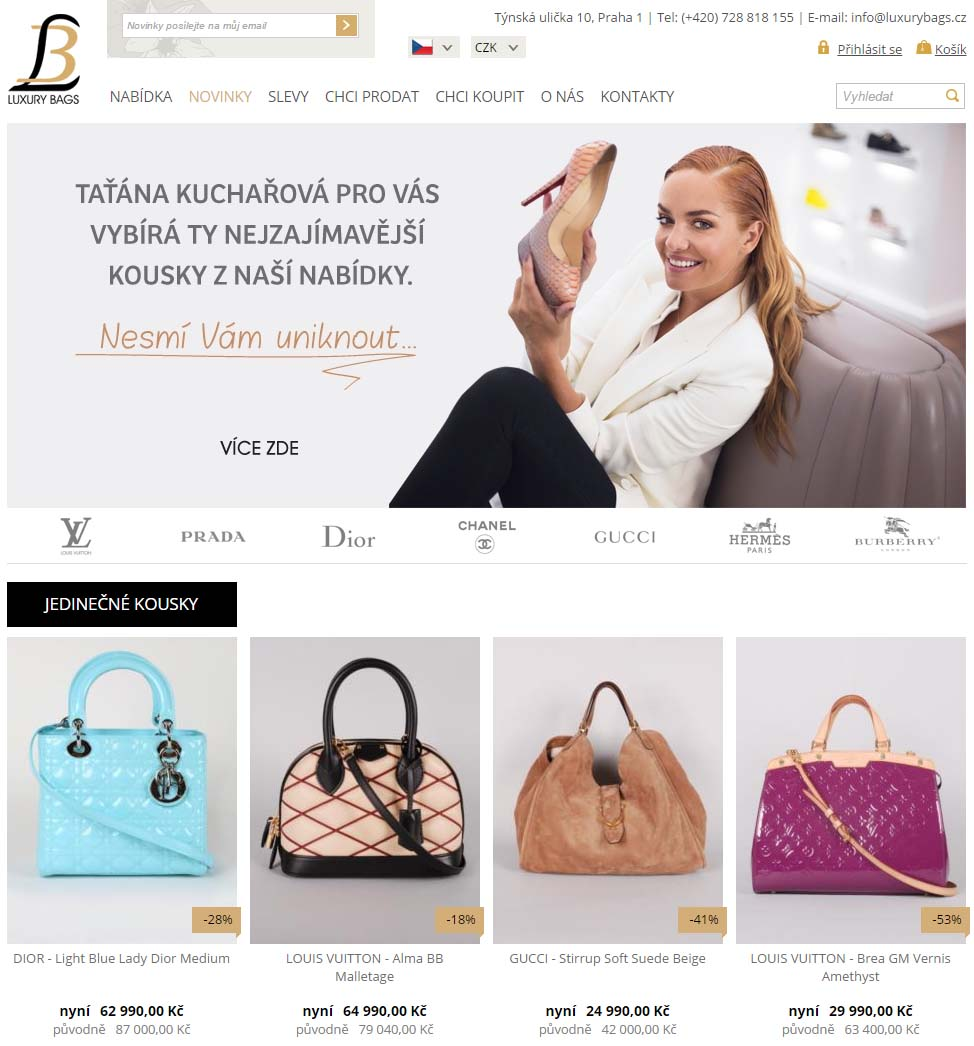 Ukázka e-shopu LuxuryBags